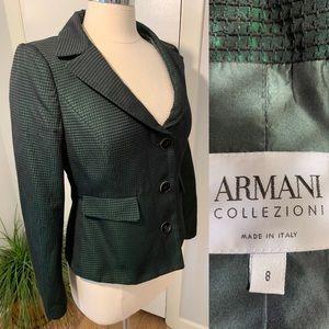 Armani Collezioni Woman's Blazer Green Black Sz 8